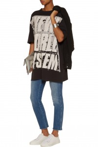 New World System oversized printed cotton-jersey T-shirt