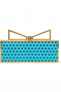Lady Me laser-cut leather and satin clutch