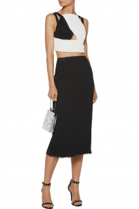Exton plissé-chiffon and crepe midi skirt