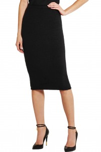 Stretch cashmere-blend skirt