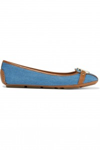 Fulton leather-trimmed denim ballet flats