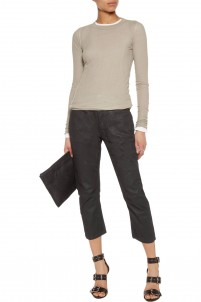 Dark Shadow coated stretch-cotton slim-leg pants