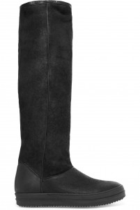 Textured-leather knee boots