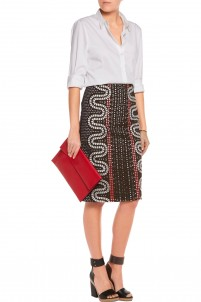 Embroidered cutout crepe pencil skirt
