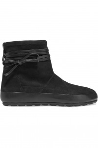 Minsi leather-trimmed suede boots