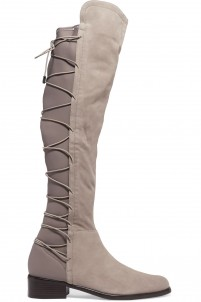 Talia lace-up neoprene and suede knee boots