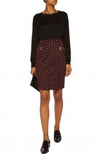 Polka-dot crepe mini skirt