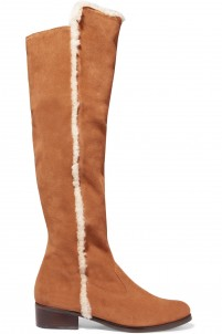 Lyah shearling-trimmed suede knee boots