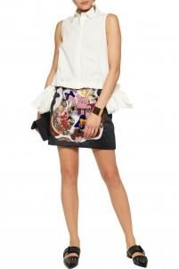 Embellished satin mini skirt