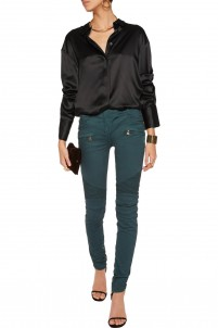 Paneled washed cotton-blend skinny pants