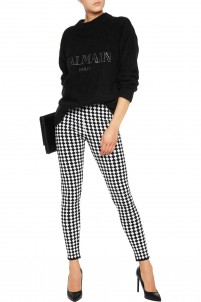 Checked stretch-knit leggings