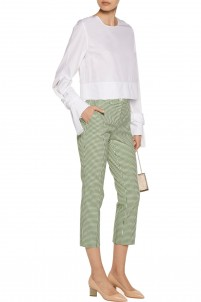 Gingham stretch-cotton skinny pants