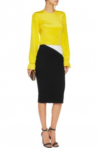 Karissa two-tone stretch-jersey pencil skirt