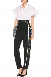 Arcade embellished crepe straight-leg pants