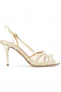 Courtney mesh-paneled satin sandals
