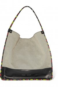 Jumbo snake-trimmed canvas tote