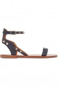 Rockstud textured-leather sandals
