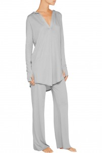 Pima cotton and modal-blend hooded pajama top