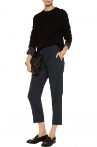 Konti cropped wool-blend piqué straight-leg pants