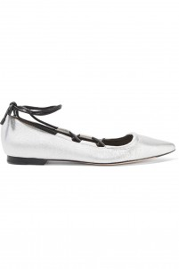 Kiddie lace-up metallic textured-leather point-toe flats