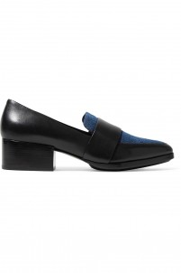 Quinn denim-paneled leather loafers