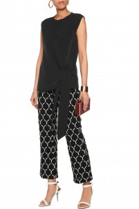 Cotton macramé lace straight-leg pants