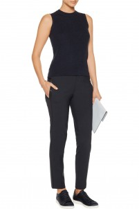 Satin-trimmed stretch-wool straight-leg pants