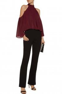 Mila cutout pleated crepe de chine blouse