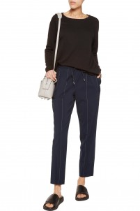 Pinstriped stretch wool-blend pants
