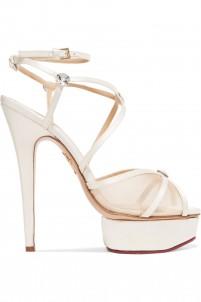 Isadora embellished satin and mesh sandals