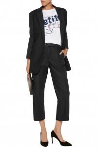 Mesh-paneled twill blazer
