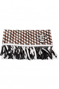 Fringed woven leather fold-over clutch