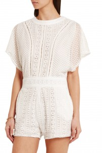 Embroidered tulle playsuit