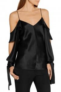 Amalfi draped cutout silk-satin blouse