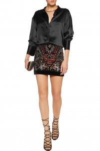 Crystal-embellished cotton-blend velvet mini skirt