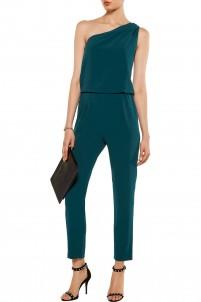 One-shoulder crepe jumpsuit