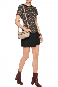 Wrap-effect cotton-blend twill mini skirt