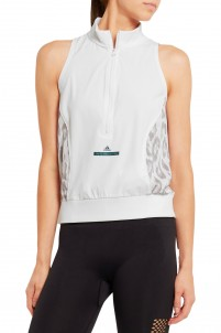 Studio Climacool® stretch-jersey and leopard-print mesh tank