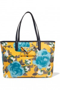 Metropolitote leather-trimmed printed coated-canvas tote