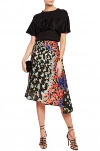 Bek printed matelassé midi skirt