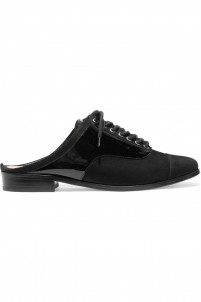 Babiana patent leather-paneled suede slippers