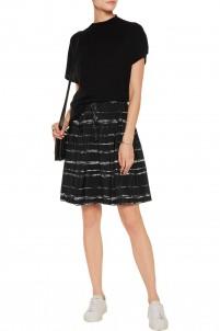 Shadow pleated printed silk-chiffon skirt