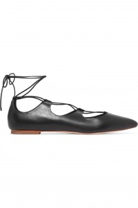 Ambra lace-up leather point-toe flats