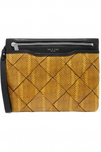 Woven snake-effect leather clutch