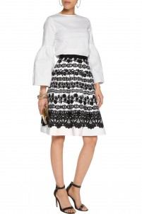 Pleated printed stretch-cotton canvas skirt