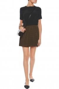 Perrin polka-dot crepe mini skirt