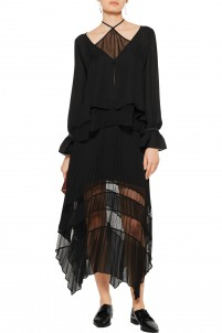Palma asymmetric paneled chiffon and point d'esprit midi skirt