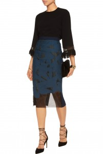 Arreton cutout organza, twill and crepe skirt
