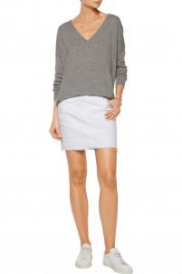 Leila distressed denim mini skirt