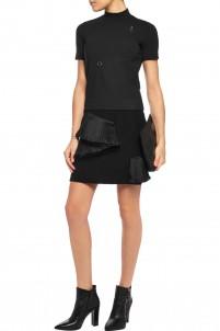 Stone plissé organza-trimmed crepe mini skirt